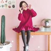 桃紅色厚款棉絨連帽長袖衛衣洋裝 前短後長散擺魚尾洋裝 橘魔法 Baby magic   現貨  兒童 童裝