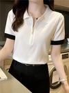 2021年夏季新款女裝polo衫女短袖上衣翻領韓版半袖冰絲針織T恤潮 果果輕時尚
