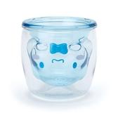 小禮堂 大耳狗 雙層造型透明塑膠杯 貓爪杯 牛奶杯 水杯 180ml (藍) 4550337-38177