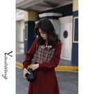 紅色洋裝女2021新款春季氣質中長款V領格紋收腰顯瘦系帶a字長裙
