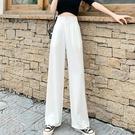 雪紡褲 春季新款白色寬管褲寬褲女雪紡垂感飄逸直筒寬鬆西裝高腰拖地褲潮-Ballet朵朵