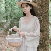 配吊帶裙的雪紡短款小外披防曬衣開衫女夏季薄超仙女外套外搭披肩