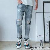 【OBIYUAN】 牛仔褲 九分褲 水洗刷色 刷破 拼接 丹寧 長褲 共1色【Y0688】