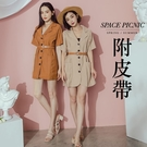 洋裝 Space Picnic|素面排釦V領洋裝-附皮帶(預購)【C20073019】