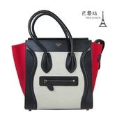 【巴黎站二手名牌專賣店】*現貨*CELINE 真品*經典Micro Luggage 紅X黑拚色手提冏包