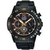 ALBA 雅柏 ACTIVE 活力運動計時手錶-黑/44mm VD53-X239SD(AT3965X1)