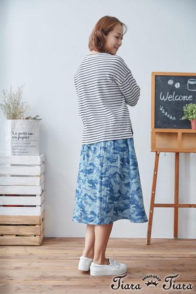 【Tiara Tiara】長短版落肩五分袖條紋上衣(白橫條/藍橫條/藍直條) 新品穿搭
