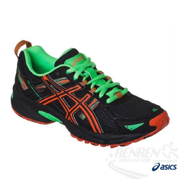 ASICS亞瑟士 兒童慢跑鞋 GEL-VENTURE 5 GS (黑* 綠) 支援越野需求功能