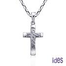 ides愛蒂思 輕珠寶義大利進口14K白金十字架項鍊鎖骨鍊(16吋-KP090)