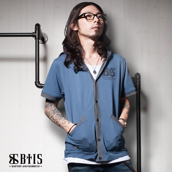 【BTIS】酷帥 短袖連帽外套 / 灰藍色