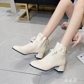 網紅瘦瘦靴增高鞋女英倫秋冬季新款甜美百搭米色短靴粗跟加絨 EY9952 【野之旅】