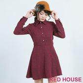 RED HOUSE-蕾赫斯-仿毛呢感襯衫綁帶洋裝(紅色)