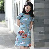 旗袍 2019新款 小清晰 連衣裙 復古 短款 日常  旗袍 短袖裙子 快速出貨