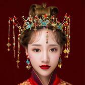 新娘頭飾2017新款新娘中式紅色流蘇蝴蝶古裝套裝結婚秀和服飾品  電購3C