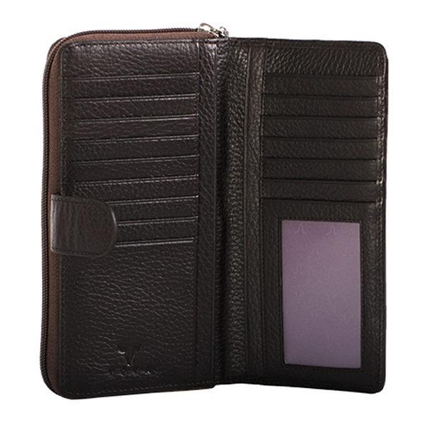 【橘子包包館】VOVA 貝拉系列 真皮 15卡相片零錢袋 扣式長夾 VA112W021BR 咖啡色