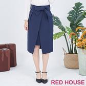 【RED HOUSE 蕾赫斯】蝴蝶結綁帶鉛筆裙(共2色)