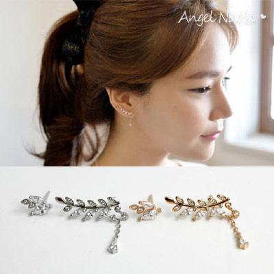 925純銀耳環。AngelNaNa  樹葉子流蘇鋯石-耳釘耳針耳飾銀飾 (SRA0503)