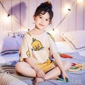 女童睡衣夏季薄款短袖純棉親子母女13歲女孩中大童兒童家居服套裝(聖誕新品)