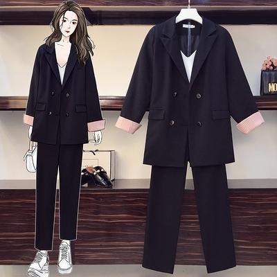 套裝/兩件式 中大尺碼女裝秋裝新款時尚大碼胖妹妹寬松網紅款西裝套裝氣質兩件套F4096韓衣裳