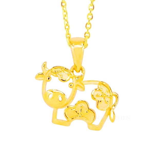 小花牛-黃金墜子-生肖牛