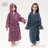 兒童浴衣 毛巾料兒童浴袍帶帽可拆男女大童加長版親子浴衣中厚 傾城小鋪