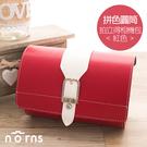 【拼色圓筒拍立得相機包 紅色】Norns 復古皮革側背包 微單眼相機背包