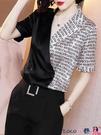 熱賣雪紡上衣 2021新款夏季拼接雪紡襯衫女士短袖洋氣設計感襯衣西裝領百搭上衣 coco