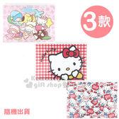〔小禮堂〕Sanrio大集合 單層夾鍊資料袋《3款.隨機出貨.紅格/滿版蘋果/睡衣派對》 4713791-96296