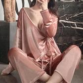 睡衣 女春秋季長袖金絲絨性感家居服薄款日系和服冬夏兩件套裝(聖誕新品)