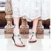 夾腳涼鞋 波西米亞平底夾趾松緊帶涼鞋女鞋水鑽防滑海邊沙灘鞋  綠光森林