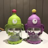 兒童水杯吸管杯隨手杯可愛卡通防漏杯塑料耐摔水壺小學生杯子