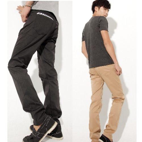 【B&B JEANS】質感亮面條紋滾邊造型休閒褲--贈皮帶(共三色)/韓版/窄版