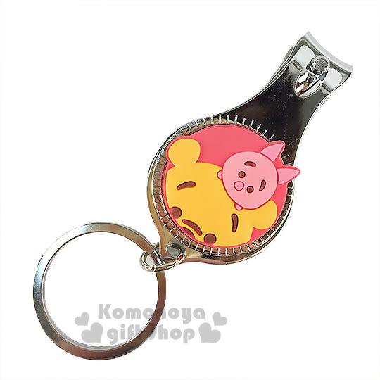 〔小禮堂〕迪士尼 Tsum Tsum 小熊維尼 指甲剪《小.紅黃.小豬.附鑰匙圈》方便隨身攜帶 8039032-20011