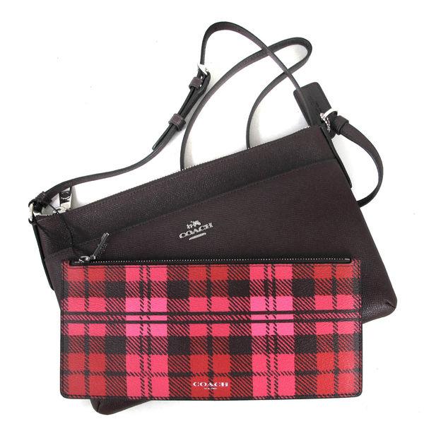 COACH 馬車Logo全皮革斜背包 防刮子母包 附拉鍊袋(暗紅雙色)-22252