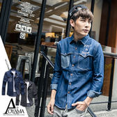 長袖襯衫 【N3521】潮流感十足剪裁拼接單寧牛仔襯衫