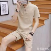 睡衣夏季男中國風棉麻唐裝休閒居家服套裝青年可外穿兩件套 QX6194  【棉花糖伊人】