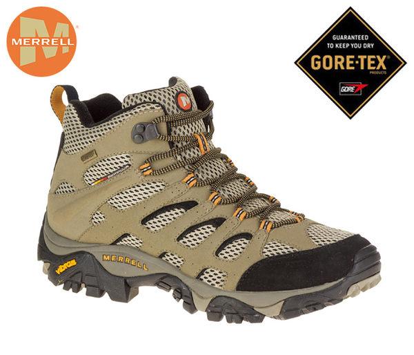 大戶外 美國【MERRELL】MOAB MID GORE-TEX 男款戶外多功能健行防水鞋 ML87311 棕/黑