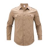 [美國空軍一號軍用制服] 男士長袖襯衫 歐美款休閒有5XL大尺碼17203/卡其色**預購