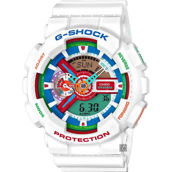 CASIO 卡西歐 G-SHOCK 撞色潮流雙顯錶-白 GA-110MC-7ADR / GA-110MC-7A