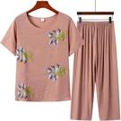 棉麻兩件套 媽媽裝夏季短袖T恤衫老年人女士仿棉麻寬鬆上衣奶奶九分褲子套裝
