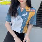 花襯衫女設計感小眾2021新款夏季中國風復古盤扣短袖雪紡衫上衣潮 喵小姐