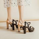 高跟凉鞋 2021夏季10cm高跟鞋韓版一字扣帶涼鞋女粗跟露趾防水臺皮面女鞋