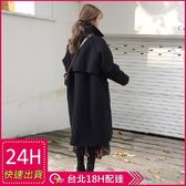 免運★梨卡 - 韓國空運秋冬加厚寬鬆毛呢大衣風衣西裝外套A409