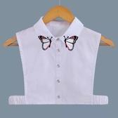 假領子假領片韓版假衣領 可愛蝴蝶 罩衫洋裝襯衫針織大學T外套內搭 白色[E1406]  預購.朵曼堤洋行