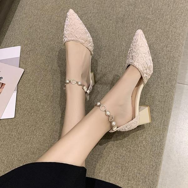 低跟鞋 高跟鞋女中跟2021春夏新款百搭一字帶包頭涼鞋粗跟尖頭小香風單鞋