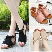 韓版時尚涼鞋百搭中跟鞋學生粗跟露趾沙灘鞋女鞋