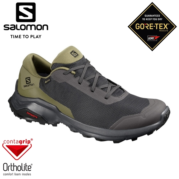 【SALOMON 索羅門 男 X REVEAL 3 GTX低筒登山鞋《幻灰/橄欖綠/黑》】410421/防水越野鞋/戶外健行鞋