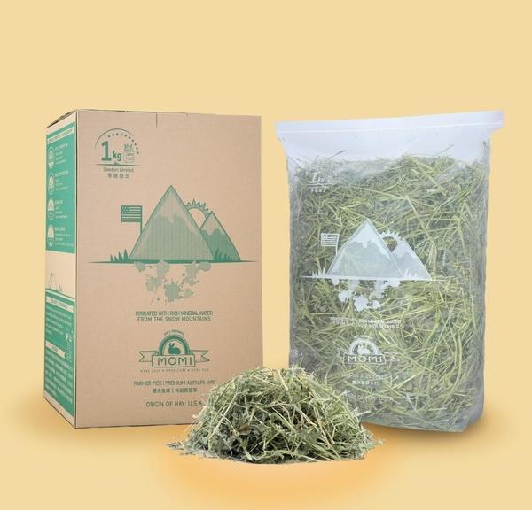 *KING WANG*美國摩米 MOMI特級苜蓿草1kg 35%高纖維質牧草適合幼兔、龍貓、天竺鼠苜蓿