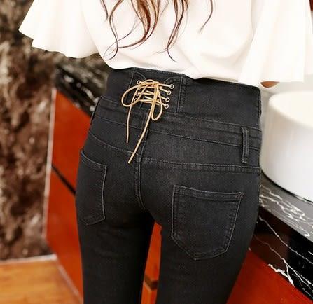 EASON SHOP(GU5488)韓版後腰交叉綁帶排扣黑色高腰牛仔褲女長褲貼腿褲彈力貼身收腹直筒褲