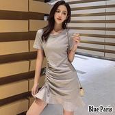 【藍色巴黎 】 韓系 氣質小香收腰荷邊裙擺修身短袖連身裙 洋裝《4色》【28730】